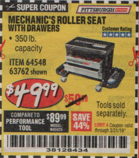 Harbor Freight Coupons, HF Coupons, 20% off - Mechanic's Roller Seat With Drawers