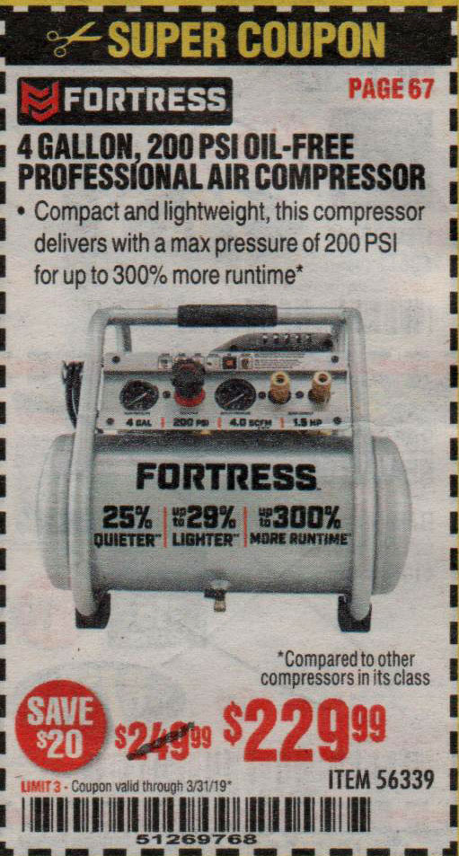 Harbor Freight Coupons, HF Coupons, 20% off - Fortress 4 Gallon, 1.5 Hp, 200 Psi Oil-free Professional Air Compressor