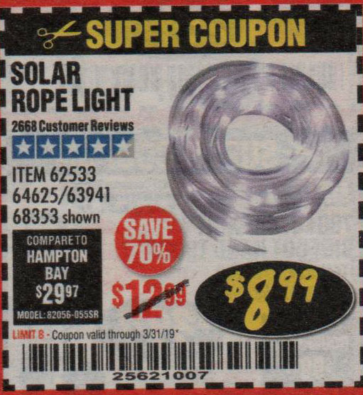 Harbor Freight Coupons, HF Coupons, 20% off - Solar Rope Light