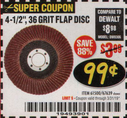 Harbor Freight Coupons, HF Coupons, 20% off - 4-1/2 In. 36 Grit Flap Disc