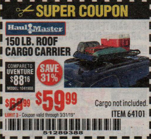 Harbor Freight Coupons, HF Coupons, 20% off - 150 Lb. Roof Cargo Carrier