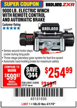 Harbor Freight Coupons, HF Coupons, 20% off - Badland Zxr9000 9000 Lb Winch