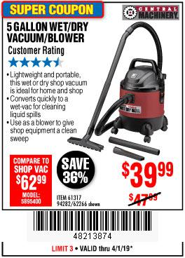 Harbor Freight Coupons, HF Coupons, 20% off - 5 Gallon Wet/dry Shop Vacuum And Blower