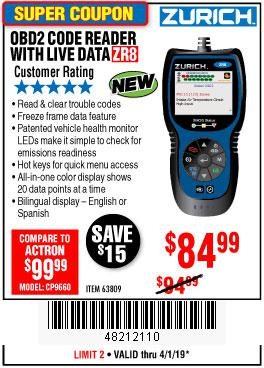 Harbor Freight Coupons, HF Coupons, 20% off - Zurich Obd2 Code Reader With Live Data Zr8
