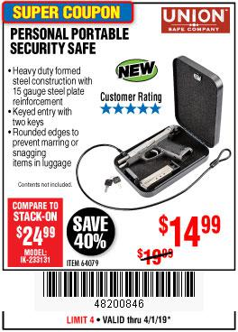 Harbor Freight Coupons, HF Coupons, 20% off - Personal Portable Security Safe