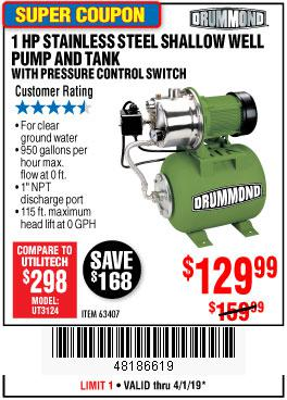 Harbor Freight Coupons, HF Coupons, 20% off - 1 Hp Stainless Steel Shallow Well Pump And Tank