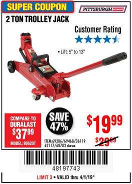 Harbor Freight Coupons, HF Coupons, 20% off - 2 Ton Trolley Jack