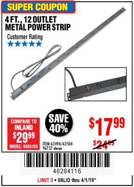 Harbor Freight Coupons, HF Coupons, 20% off - 4 Ft. 12 Outlet Metal Power Strip