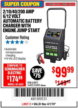 Harbor Freight Coupons, HF Coupons, 20% off - 2/10/40/200 Amp 6/12 Volt Automatic Battery Charger With Engine Jump Start