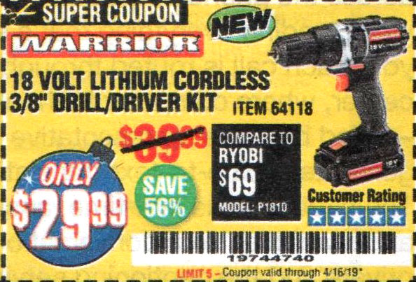Harbor Freight Coupons, HF Coupons, 20% off - 18 Volt Lithium Cordless 3/8