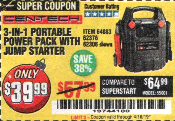 Harbor Freight Coupons, HF Coupons, 20% off - 3-in-1 Portable Power Pack With Jump Starter
