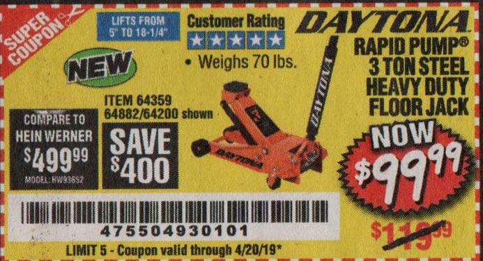 Harbor Freight Coupons, HF Coupons, 20% off - Daytona 3 Ton Heavy Duty Floor Jack
