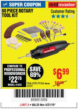 Harbor Freight Coupons, HF Coupons, 20% off - 80 Piece Rotary Tool Kit