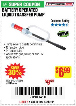 Harbor Freight Coupons, HF Coupons, 20% off - Battery Operated Liquid Transfer Pump