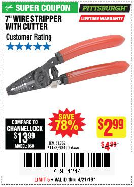 Harbor Freight Coupons, HF Coupons, 20% off - 7 In. Wire Stripper With Cutter