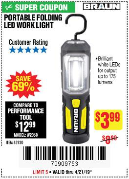 Harbor Freight Coupons, HF Coupons, 20% off - Braun Portable Folding Led Work Light