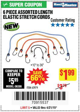 Harbor Freight Coupons, HF Coupons, 20% off - 6 Piece Elastic Stretch Cords
