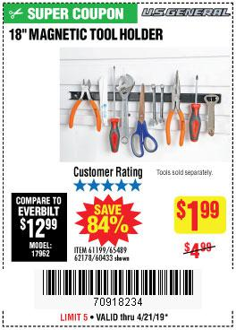Harbor Freight Coupons, HF Coupons, 20% off - 18 In. Magnetic Tool Holder