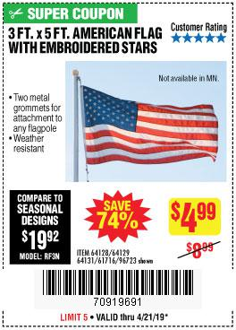 Harbor Freight Coupons, HF Coupons, 20% off - 3 Ft. X 5 Ft. American Flag With Embroidered Stars