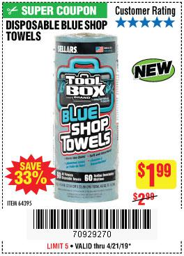Harbor Freight Coupons, HF Coupons, 20% off - Tool Box Blue Shop Towels