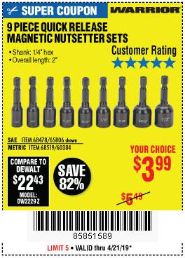 Harbor Freight Coupons, HF Coupons, 20% off - 9 Piece Quick Change Magnetic Nutsetter Sets