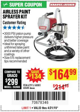 Harbor Freight Coupons, HF Coupons, 20% off - Airless Paint Sprayer Kit