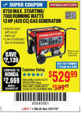 Harbor Freight Coupons, HF Coupons, 20% off - 8750 Peak / 7000 Running Watts 13 Hp (420 Cc) Gas Generator