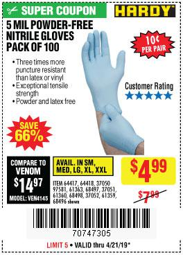 Harbor Freight Coupons, HF Coupons, 20% off - Powder-free Nitrile Gloves Pack Of 100 (5 Mil)