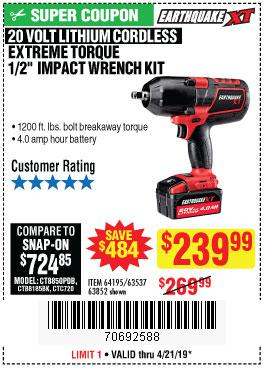 Harbor Freight Coupons, HF Coupons, 20% off - Earth Quake Xt 20 Volt Lithium Cordless Extreme Torque 1/2