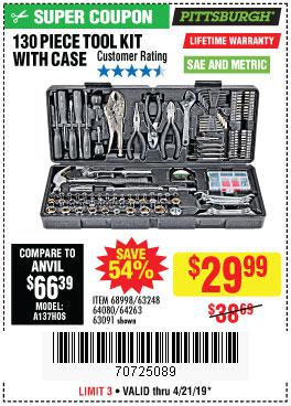 Harbor Freight Coupons, HF Coupons, 20% off - 130 Piece Tool Kit With Case