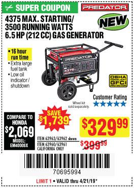 Harbor Freight Coupons, HF Coupons, 20% off - 4375 Max Starting/3500 Running Watts, 6.5 Hp (212cc) Gas Generator