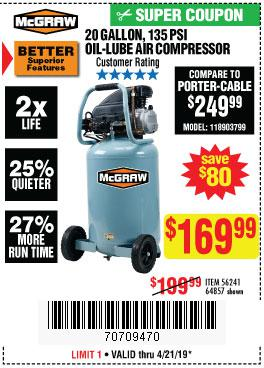 Harbor Freight Coupons, HF Coupons, 20% off - Mcgraw 20 Gallon, 13 Psi Oil-lube Air Compressor