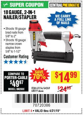 Harbor Freight Coupons, HF Coupons, 20% off - 18 Gauge 2-in-1 Nailer/stapler