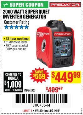 Harbor Freight Coupons, HF Coupons, 20% off - 2000 Peak / 1600 Running Watts 2.8 Hp (79.7 Cc) Portable Inverter Generator