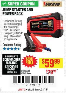 Harbor Freight Coupons, HF Coupons, 20% off - Lithium Ion Jump Starter And Power Pack