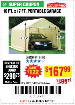 Harbor Freight Coupons, HF Coupons, 20% off - 10 Ft. X 17 Ft. Portable Garage