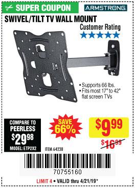 Harbor Freight Coupons, HF Coupons, 20% off - Swivel/tilt Tv Wall Mount