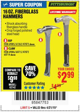 Harbor Freight Coupons, HF Coupons, 20% off - 16 Oz. Hammers With Fiberglass Handle