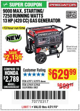 Harbor Freight Coupons, HF Coupons, 20% off - 9000 Peak / 7250 Running Watts, 13 Hp (420 Cc) Gas Generator