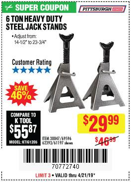 Harbor Freight Coupons, HF Coupons, 20% off - 6 Ton Heavy Duty Steel Jack Stands