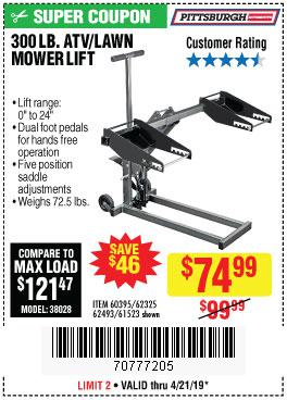 Harbor Freight Coupons, HF Coupons, 20% off - High Lift Riding Lawn Mower/atv Lift