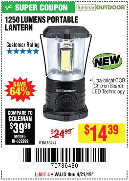 Harbor Freight Coupons, HF Coupons, 20% off - 1250 Lumens Portable Lantern