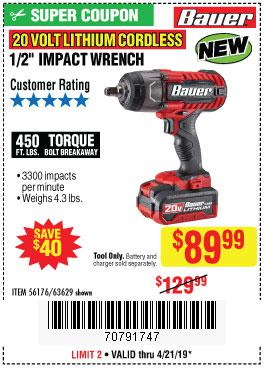 Harbor Freight Coupons, HF Coupons, 20% off - 20 Volt Lithium Cordless 1/2