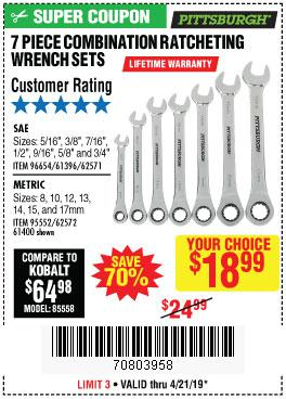 Harbor Freight Coupons, HF Coupons, 20% off - 7 Piece Combination Ratcheting Wrench Set