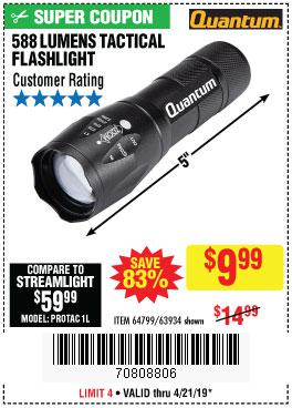 Harbor Freight Coupons, HF Coupons, 20% off - Quantum 588 Lumens Tactical Flashlight