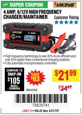 Harbor Freight Coupons, HF Coupons, 20% off - 4amp 6/12v High Frequency Smart Battery Charger