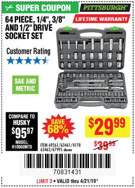 Harbor Freight Coupons, HF Coupons, 20% off - 64 Piece 1/4