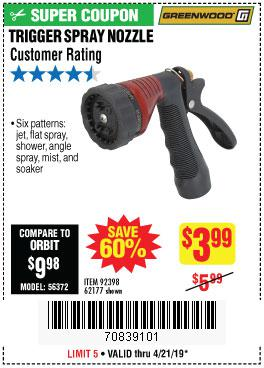 Harbor Freight Coupons, HF Coupons, 20% off - Trigger Spray Nozzle