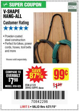 Harbor Freight Coupons, HF Coupons, 20% off - V-shape Hang-all
