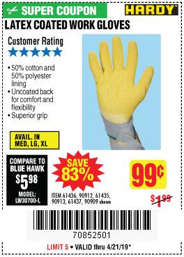 Harbor Freight Coupons, HF Coupons, 20% off - Hardy Latex Coated Work Gloves
